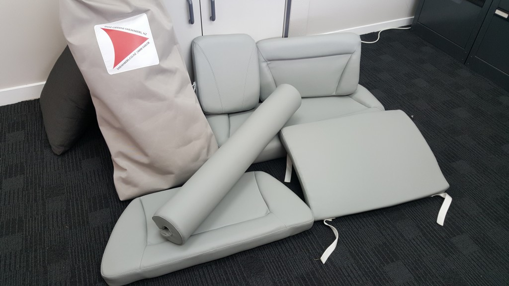 Custom made Vinyl seat cover, with FreeFlow foam.